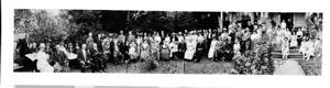Panoramic group portrait in garden, circa 1913, #69232_1