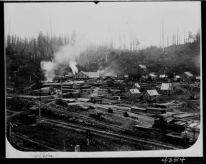 Lumber mill exterior at Malone, circa 1905, #4354_1