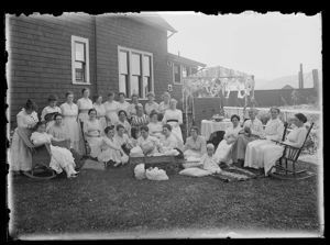 Outdoor group of women in white , circa 1910, #G0497_1