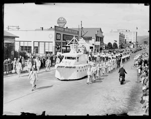 Elks Parade, Port Angeles marchers with float, circa 1925, #G0886_1