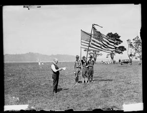 Three Boy Scouts with flags at picnic, circa 1925, #G1003_1